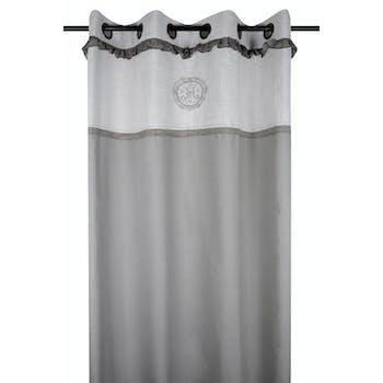 Rideau gris à oeillets avec dentelle et écusson brodé 140x260cm en coton MARIE