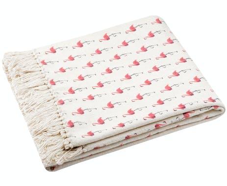 Jeté de canapé écru à motifs Flamands Roses 130x170cm en coton RISEN