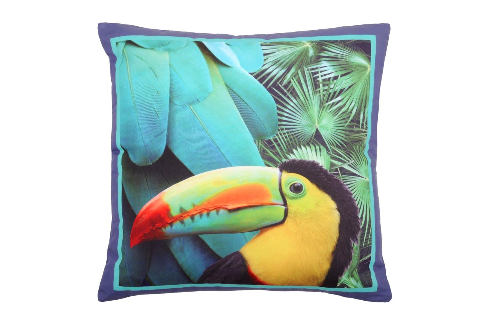 Coussin bleu imprimé toucan et plumes tons verts 40x40cm CYNARA