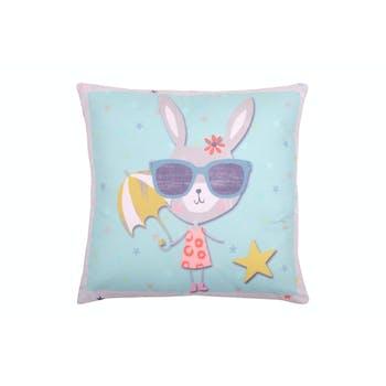Coussin bleu lapin lunettes de soleil et ombrelle 40x40cm LUCE
