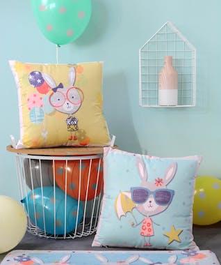 Coussin jaune lapin lunettes et ballons 40x40cm LUCE