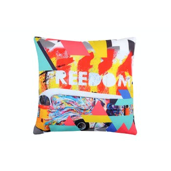 "Coussin multicolore bus ""Freedom"" 40x40cm STREET"