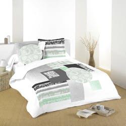 Parure de lit motifs rosaces tons verts, noirs et blancs 260x240 housse de couette + 2 taies 63x63 100% coton ZENIA