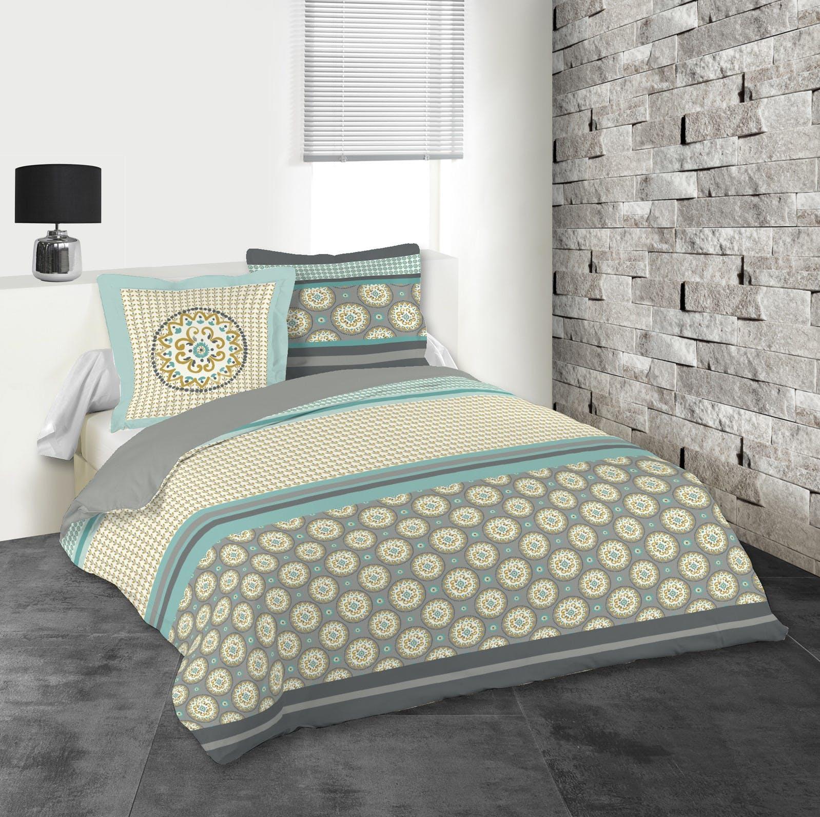 Parure de lit motifs mandalas tons gris, verts et jaunes 240x220 housse de couette + 2 taies 63x63 100% coton AMARILLA