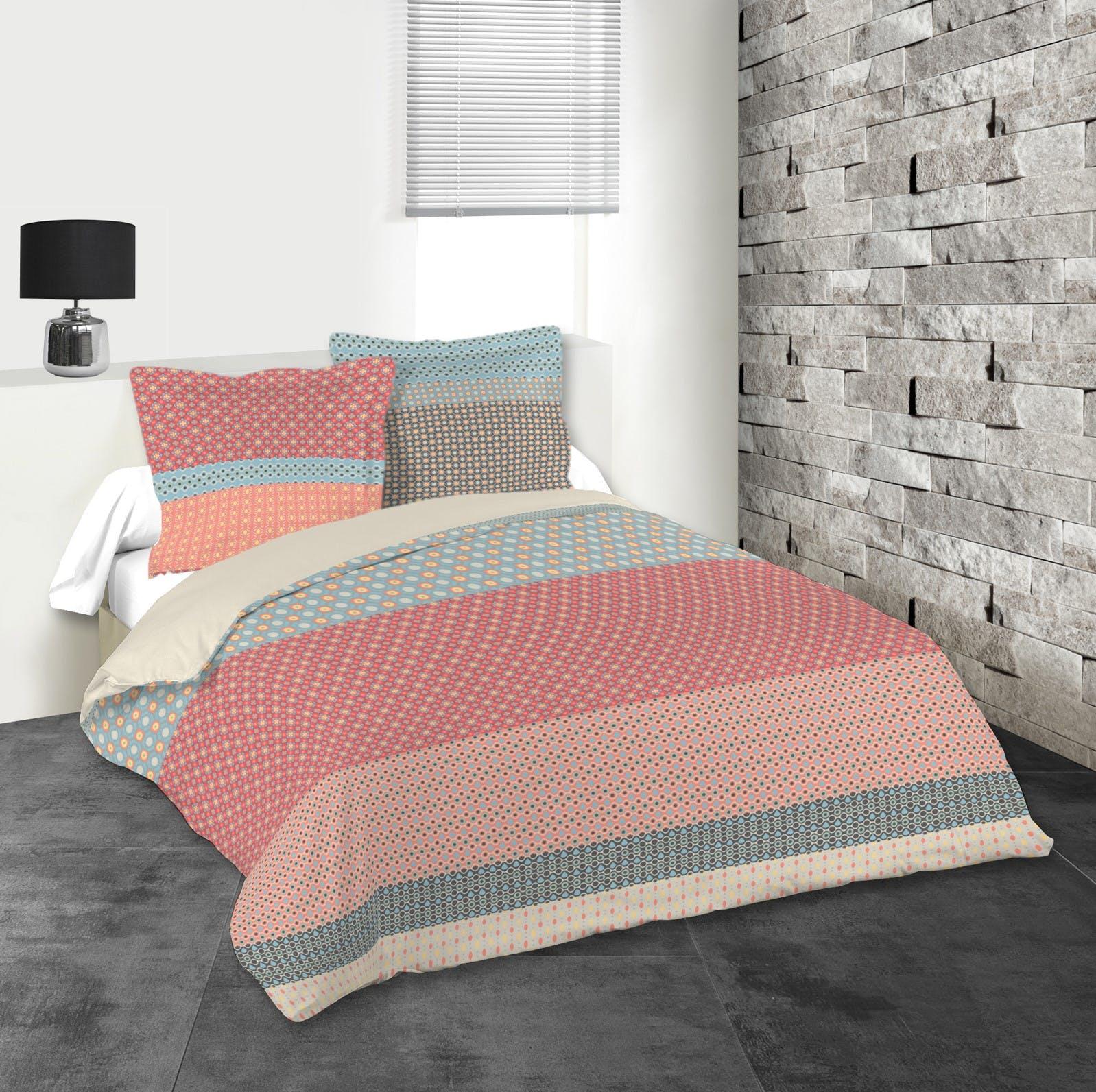 Parure de lit tons rouges, bleus et gris 240x220 housse de couette + 2 taies 63x63 100% coton VALENCIA