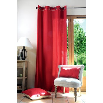 Rideau uni rouge et liseré lin 140x280cm 100% coton DUO