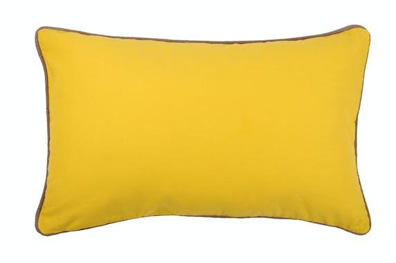 Coussin moutarde et contour gris 30x50cm DUO