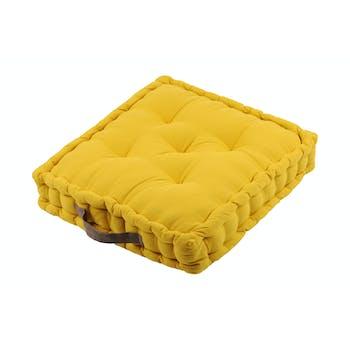 Coussin de sol moutarde et contour gris 45x45x10cm DUO