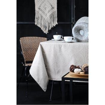 Nappe lin inspiration Indienne motifs géométriques blancs 140x240cm KOLAM