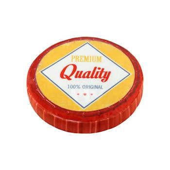 "Coussin style capsule ronde jaune et rouge ""Quality"" D38cm"
