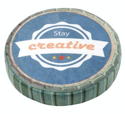 """Coussin style capsule ronde bleu et gris """"Créative"""" D38cm"""