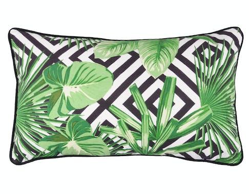 Coussin noir et blanc décor feuillage vert 30x50cm ZAPOTEC