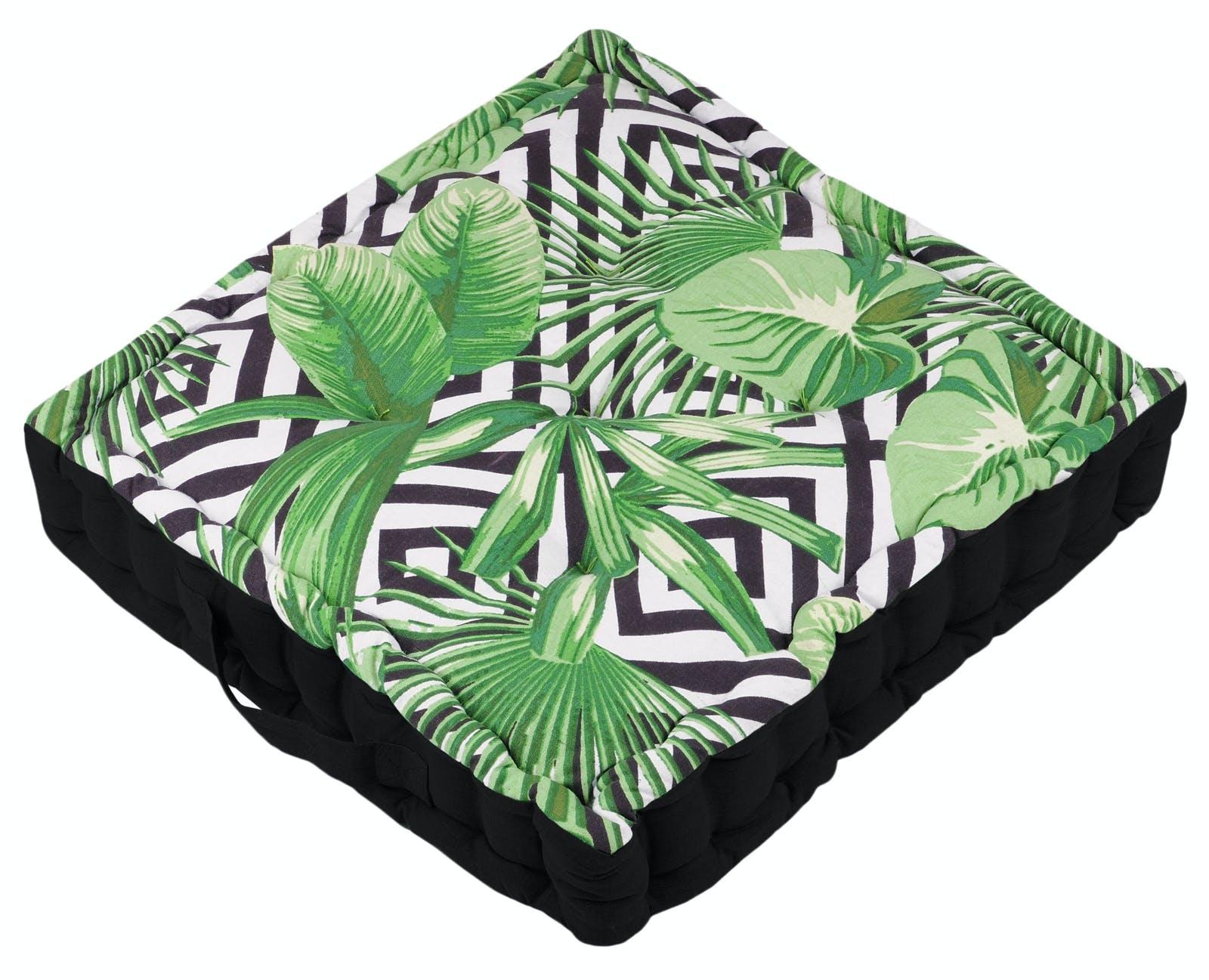 Coussin de sol noir et blanc décor feuillage vert 45x45x10cm ZAPOTEC