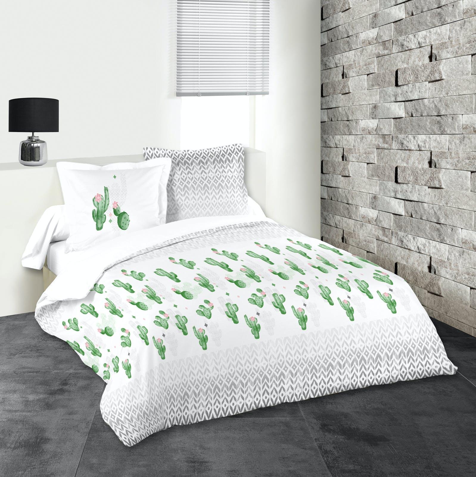 Parure de lit motifs cactus 240x220cm housse de couette + 2 taies 63x63cm DUOMA