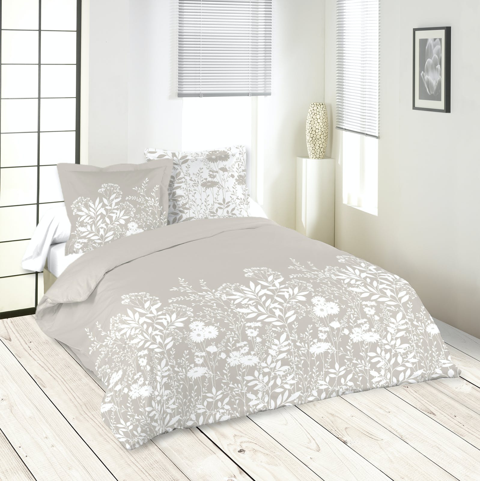 Parure de lit motifs fleurs 240x220cm housse de couette + 2 taies 63x63cm NATUREL