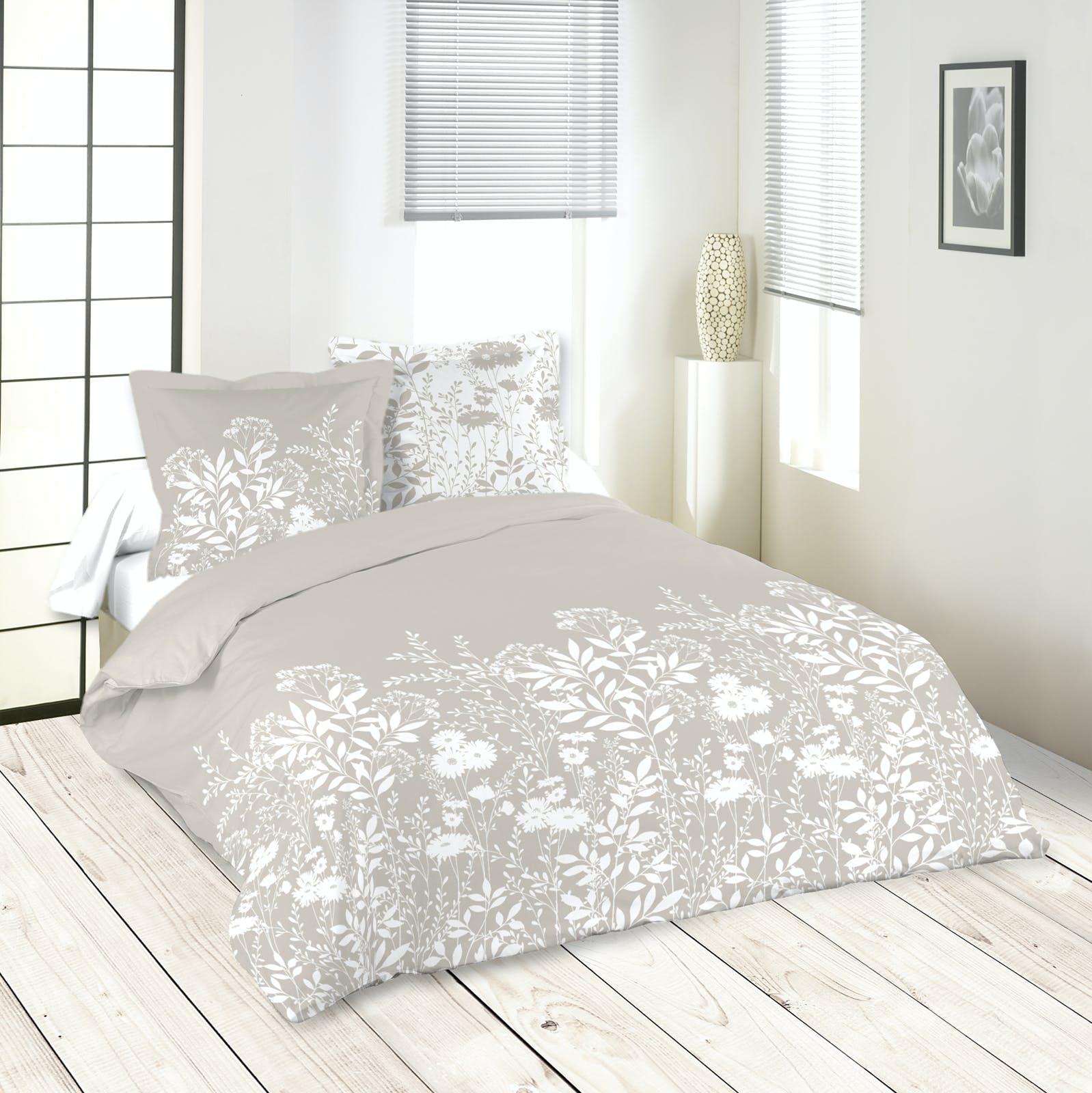 Parure de lit motifs fleurs 260x240cm housse de couette + 2 taies 63x63cm NATUREL