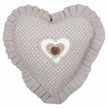 Coussin coeur romantique beige 30cm LYNA