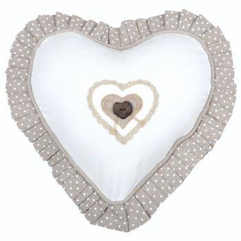 Coussin coeur romantique écru 30cm LYNA