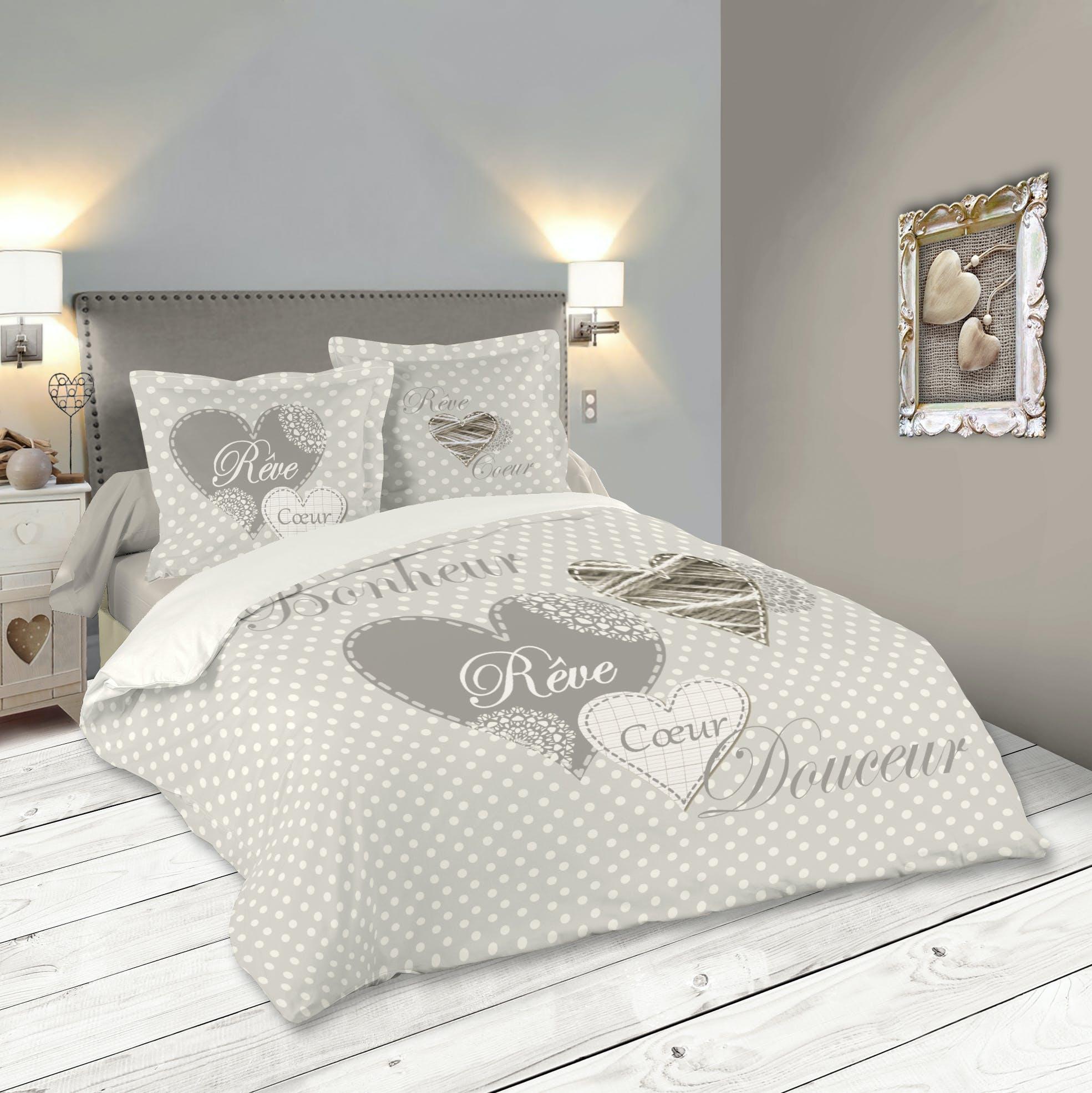 Parure de lit romantique motif coeur 260x240cm housse de couette + 2 taies 63x63cm LYNA