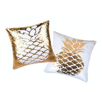 Coussin carré à sequins dorés et blancs motif ananas 40x40cm NAPY