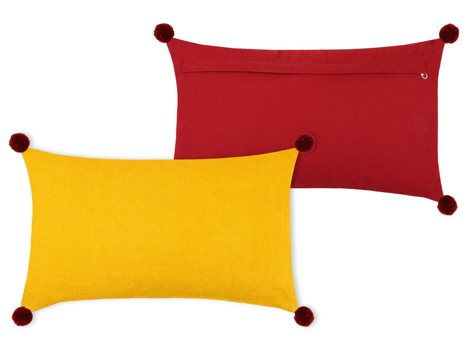 Coussin recto jaune verso rouge 30x50cm PUNO