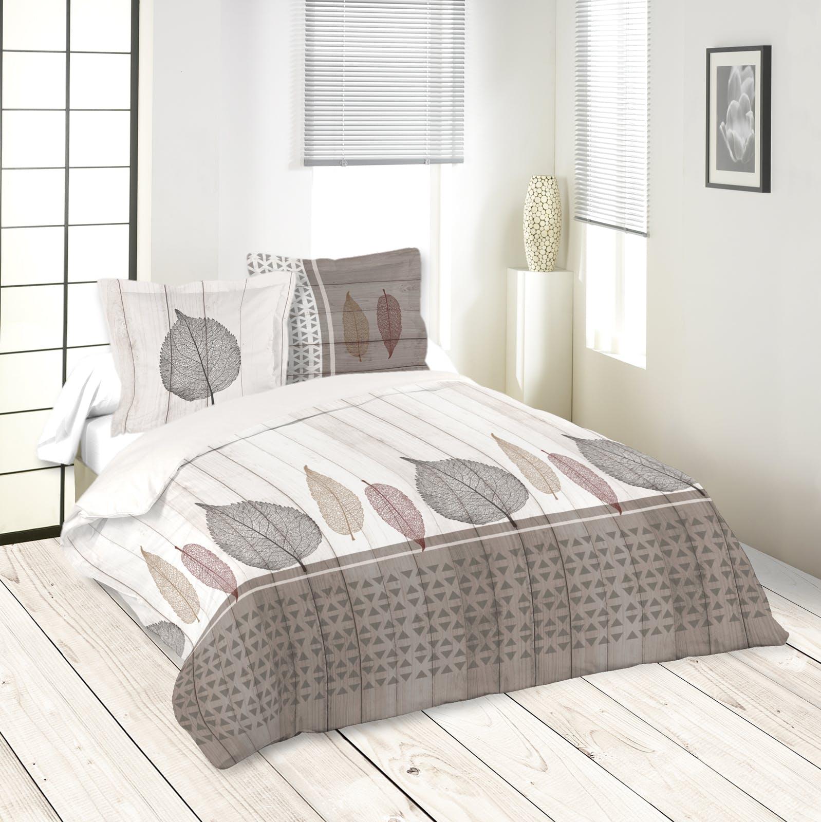 Parure de lit motifs feuilles 260x240cm housse de couette + 2 taies 63x63cm MONTEA