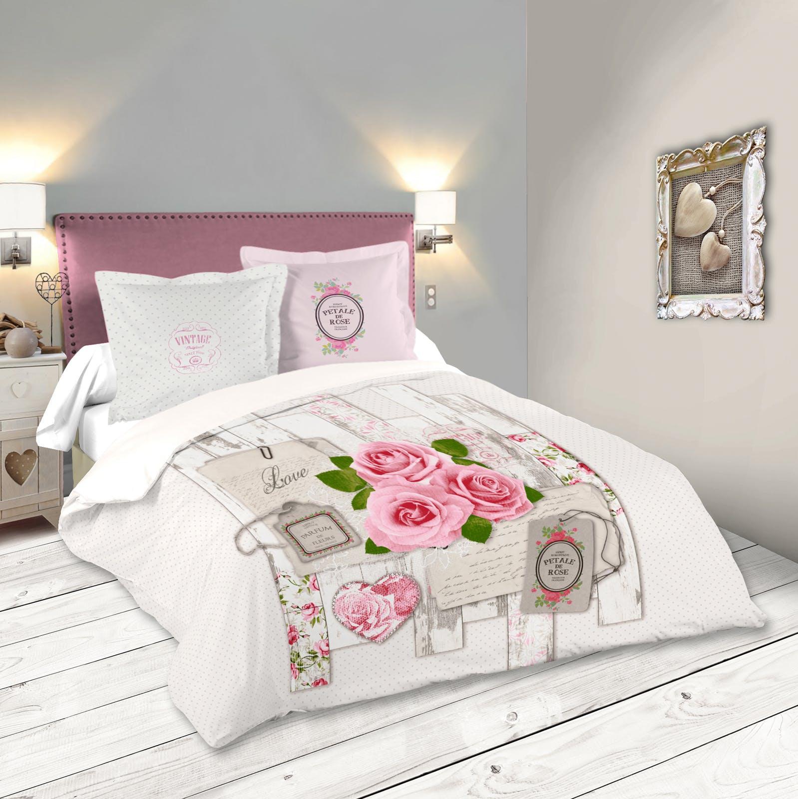 Parure De Lit Romantique Motifs Roses 260x240cm Housse De Couette + 2 Taies  63x63cm CAPELINE