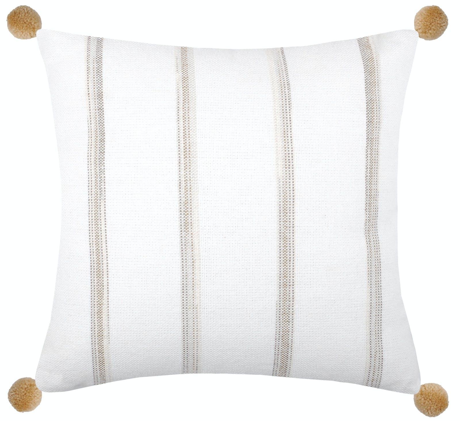 Coussin carré blanc à rayures beiges et pompons 40x40cm CHRISTIE
