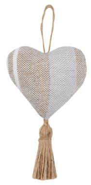 coeur à suspendre rayures beiges et grises 10cm CHRISTIE