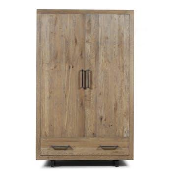 Armoire Scandinave Chêne vieilli massif 2 portes 1 tiroir pieds métal noir 130X45X200 OSLO