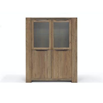 Armoire Moderne Chêne vieilli massif 4 portes 140X48X180 GONE