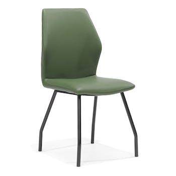 Lot de 2 chaises design revêtement PU dos piqûres matelassées pieds métal laqué noir CARLTON