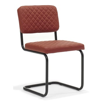 Lot de 2 chaises design revêtement PU piqûres matelassées pieds métal laqué noir PURE