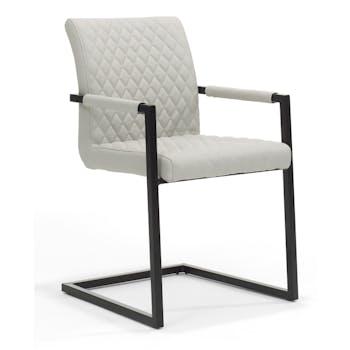 Lot de 2 chaises fauteuils design revêtement PU piqûres matelassées pieds métal laqué noir ROXY