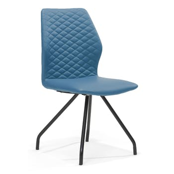 Lot de 2 chaises design revêtement PU assise et dossier piqûres matelassées pieds métal laqué noir REX