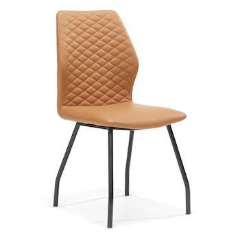 Lot de 2 chaises design revêtement PU dossier piqûres matelassées pieds métal laqué noir RITZ