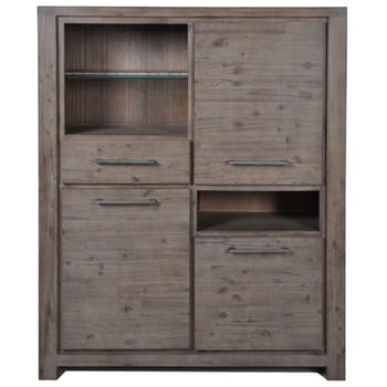 Bahut dressoir Contemporain Acacia massif 3 portes 1 tiroir 130X45X155 ORION