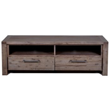 Meuble TV Contemporain Acacia massif 2 tiroirs 164X50X54 ORION