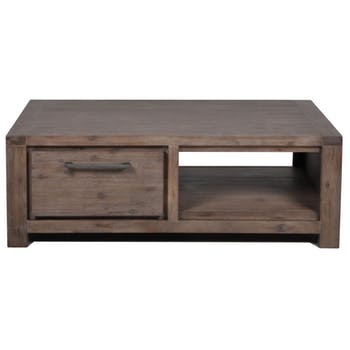 Table basse Contemporaine Acacia massif 2 tiroirs 130X70X45 ORION
