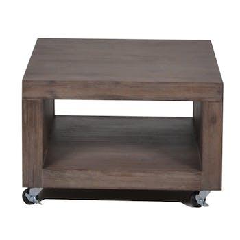 Bout de canapé / Table d'appoint carrée sur roulettes Contemporaine Acacia massif 60X60X40 ORION