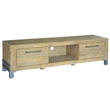Meuble TV Scandinave acacia massif Naturel blanchi 2 portes 150X45X50 GAMMA