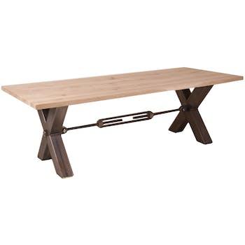 Table repas Contemporaine 220x100 Chêne vieilli massif pieds en croix métal noir RANGER II