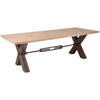 Table repas Contemporaine 240x100 Chêne vieilli massif pieds en croix métal noir RANGER II