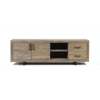 Meuble TV Scandinave Chêne vieilli massif 2 portes 2 tiroirs pieds métal noir 220X45X70 OSLO