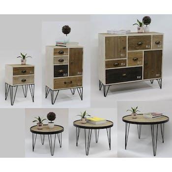 Table ronde D50cm plateau bois cerclé métal et pieds métal en épingle D50xH35cm LAZURO