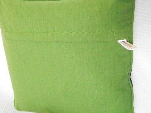 Coussin damier Jacquard vert 48x48
