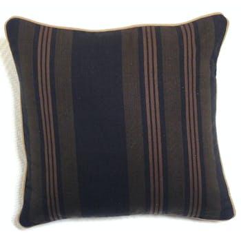 Coussin bayadère noir/taupe 40x40