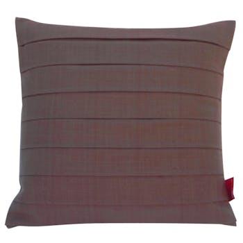 Coussin tissu coton plissé chocolat 40x40cm