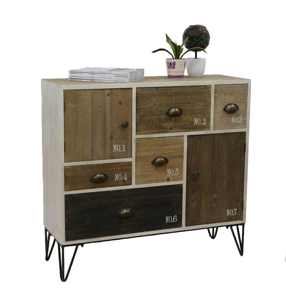 Buffet / Commode 5 tiroirs, 2 portes, bois en Patchwork de couleurs et d'effets et pieds métal en épingle 90x32,5x85cm LAZURO