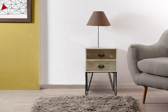 Bout de canapé bois 2 couleurs pieds épingle LAZURO
